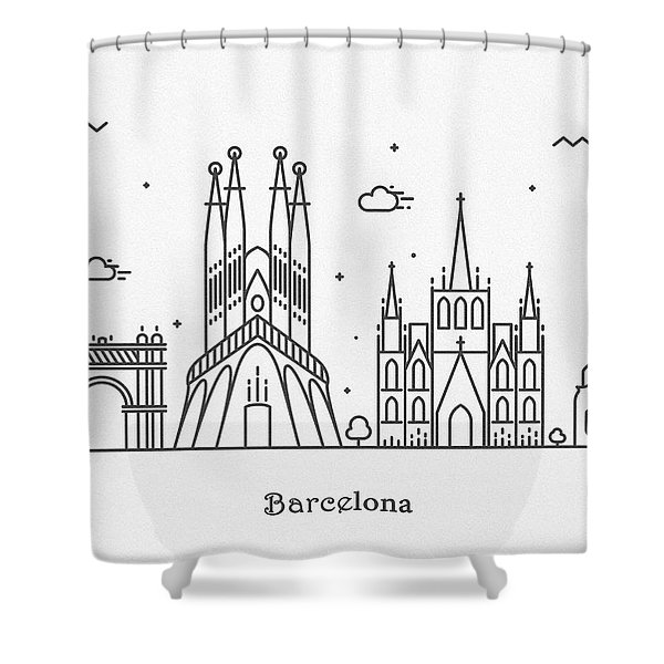 Barcelona Cityscape Travel Poster Shower Curtain