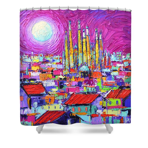 Barcelona Mystic Full Moon Over Sagrada Familia Abstract Cityscape Knife Painting Ana Maria Edulescu Shower Curtain