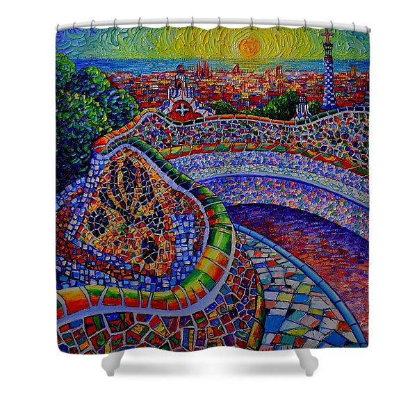 Barcelona Park Guell Sunrise Modern Impressionist Impasto Knife Oil Painting Ana Maria Edulescu Shower Curtain