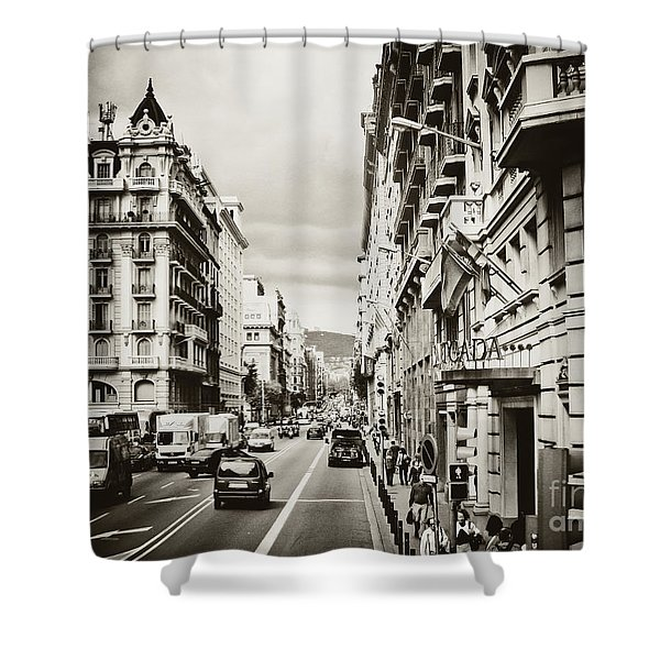 Barcelona Street Life Shower Curtain
