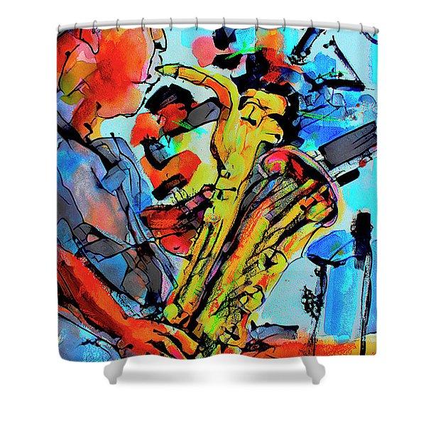 Baritone Sax Player Modern Music Art  Shower Curtain