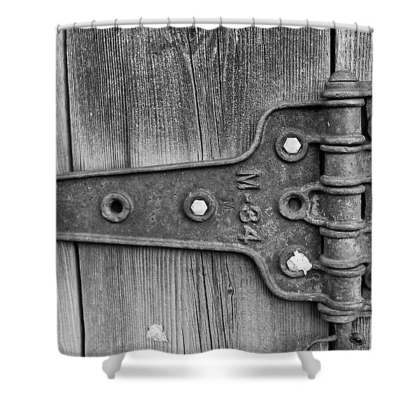 Shower Curtain featuring the photograph Barn Hinge by Tom Gresham