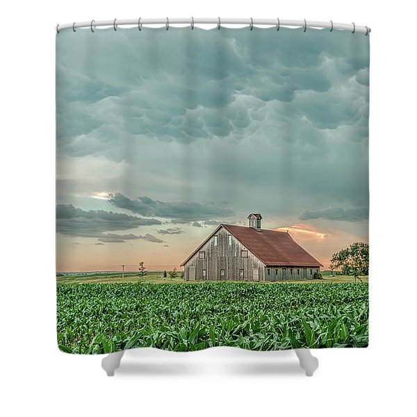 Barn In Sunset Shower Curtain