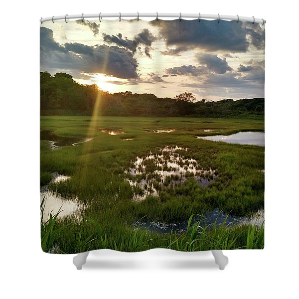 Barn Island Wetlands Shower Curtain