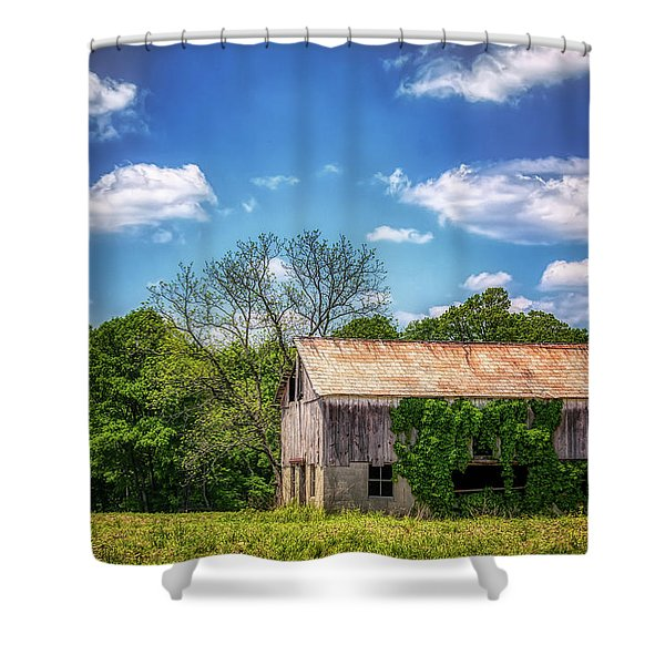 Barn With Ivy Shower Curtain