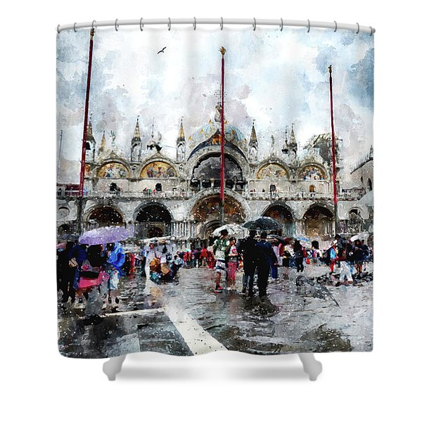 Basilica Of Saint Mark In Venice, Italy - Watercolor Effect Shower Curtain