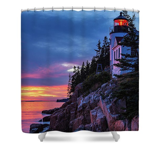 Bass Harbor Head Lighthouse At Twilight Shower Curtain