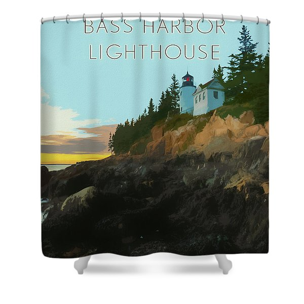 Bass Harbor Lighthouse Poster Shower Curtain
