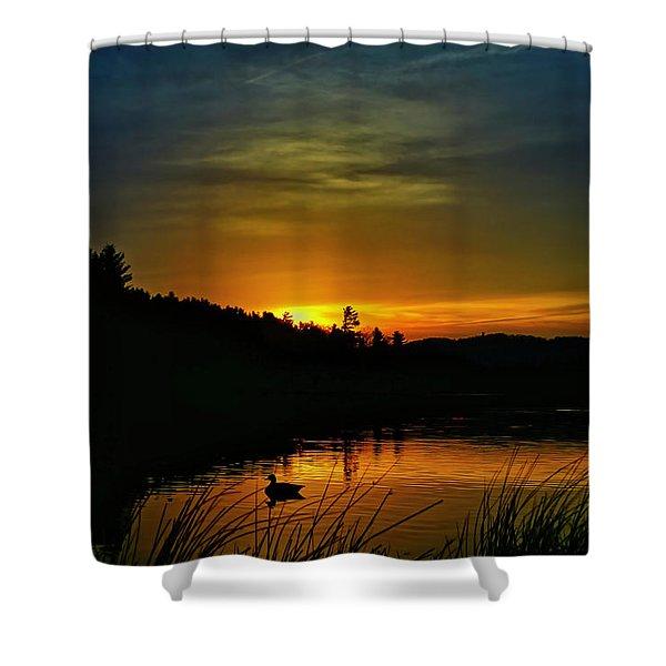 Bass Lake Sunrise Duck Shower Curtain