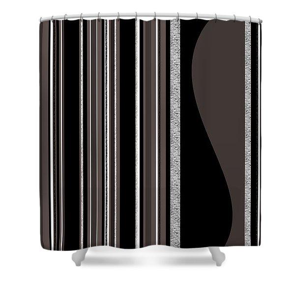 Bass Note - Random Stripes - Black And White Shower Curtain