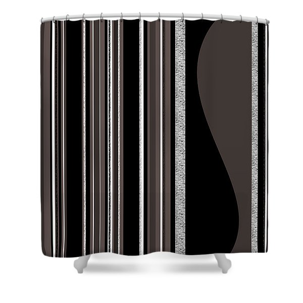 Bass Note - Random Stripes - Black And White Shower Curtain