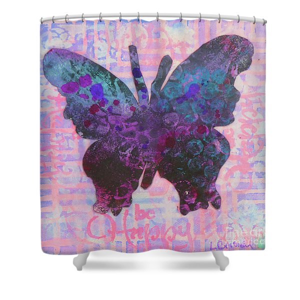 Be Happy Butterfly Shower Curtain