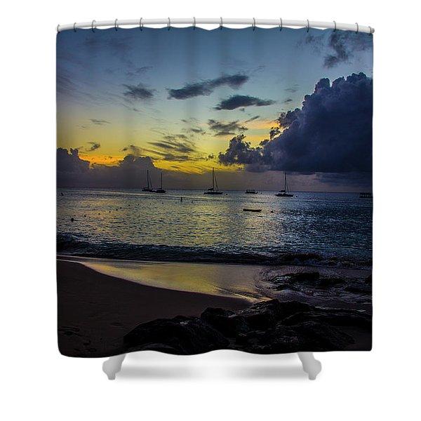 Beach At Sunset 3 Shower Curtain