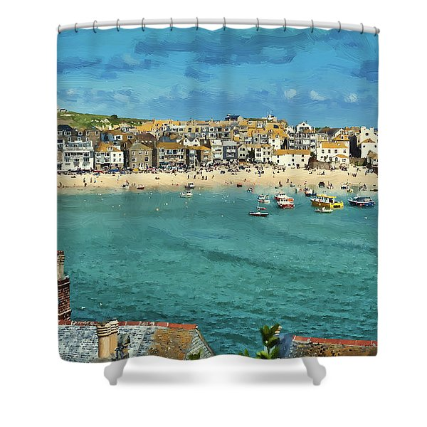 Beach From Across Bay St. Ives, Cornwall, England Shower Curtain