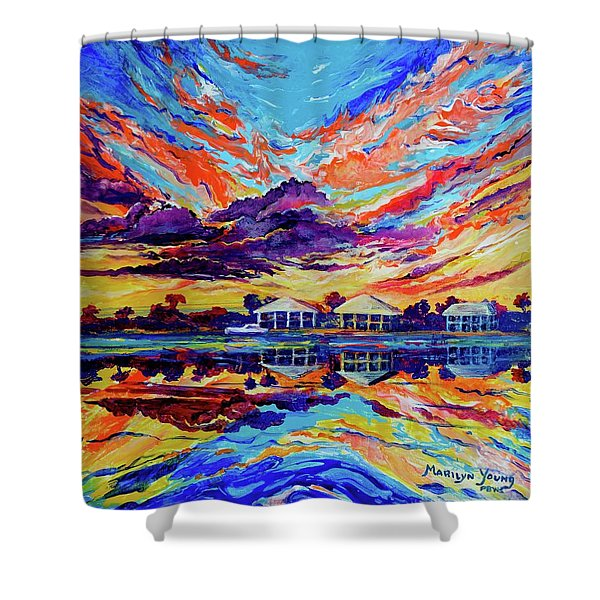 Beach House Reflections Fluid Acrylic Shower Curtain
