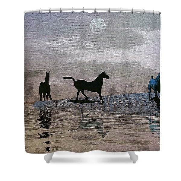 Beach Of Wild Horses Shower Curtain