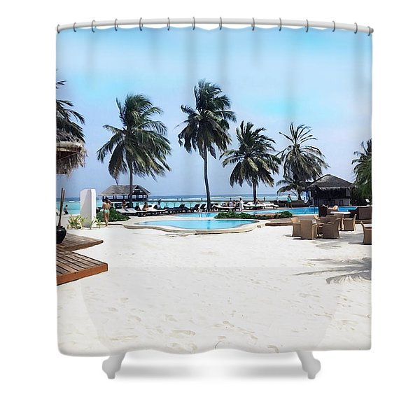 Beach Pool Side / Maldives Shower Curtain