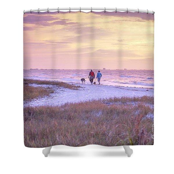 Sunrise Stroll On The Beach Shower Curtain