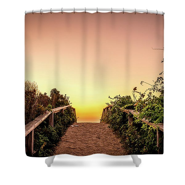 Shower Curtain featuring the photograph Path Over The Dunes At Sunrise. by Jeff Sinon