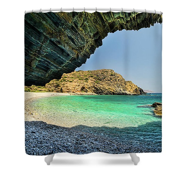 Shower Curtain featuring the photograph Almiro Beach With Cave by Milan Ljubisavljevic