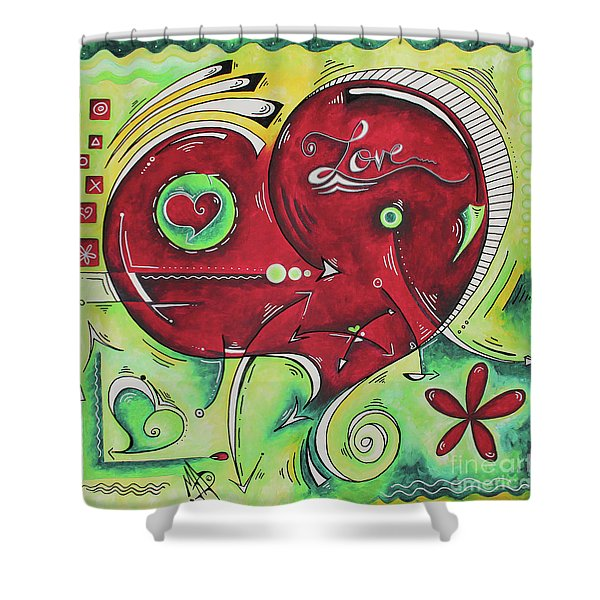 Beautiful Green And Red Heart Painting Infinite Love Pop Of Love Collection By Madart Shower Curtain