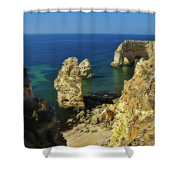 Beautiful Marinha Beach From The Cliffs Shower Curtain
