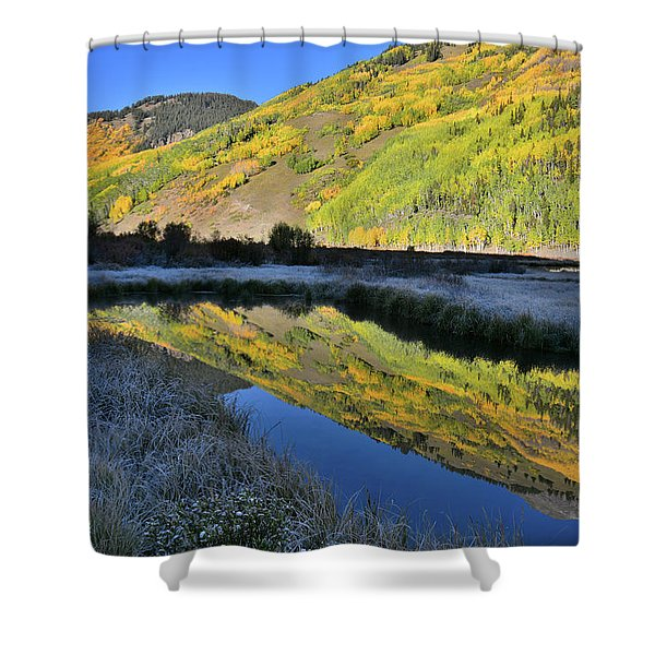 Beautiful Mirror Image On Crystal Lake Shower Curtain