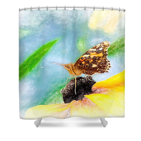 Beautiful Painted Lady Butterfly Shower Curtain