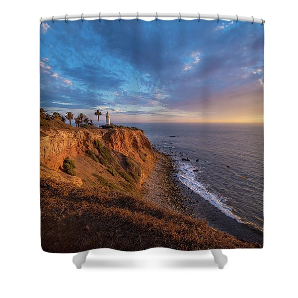 Beautiful Point Vicente Lighthouse At Sunset Shower Curtain