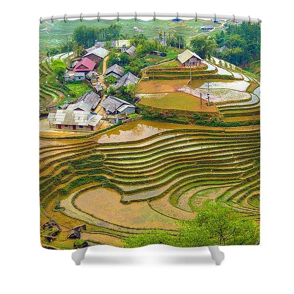 Beautiful Rice Fields, Vietnam Shower Curtain