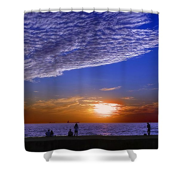 Beautiful Sunset With Ships And People Shower Curtain