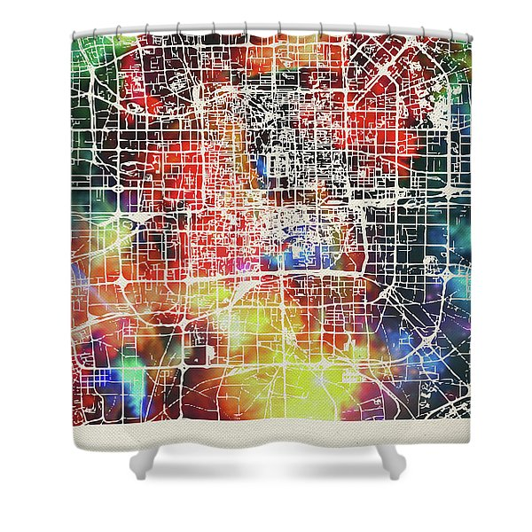 Beijing China Watercolor City Street Map Shower Curtain