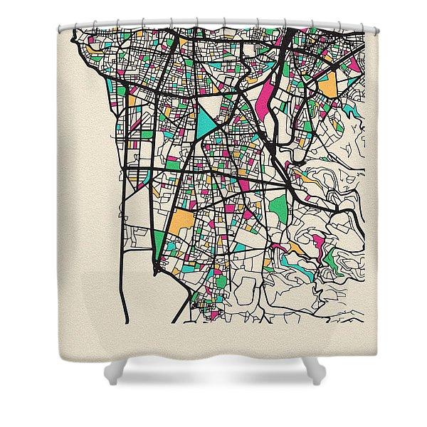 Beirut, Lebanon City Map Shower Curtain