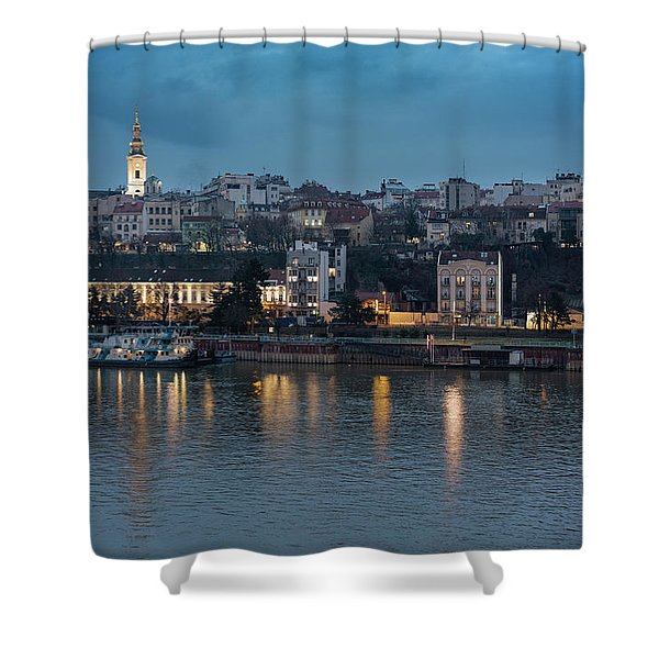 Shower Curtain featuring the photograph Belgrade Skyline And Sava River by Milan Ljubisavljevic
