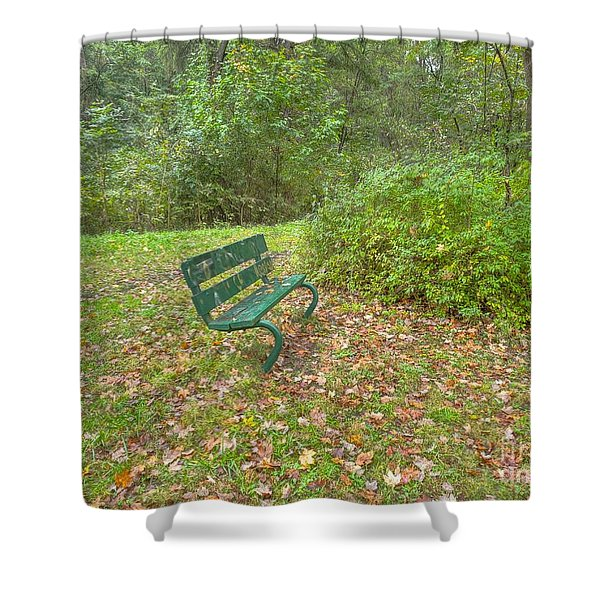 Bench Overlooking Pine Quarry Shower Curtain
