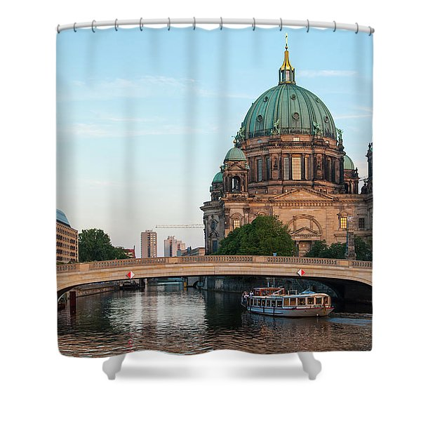 Shower Curtain featuring the photograph Berliner Dom And River Spree In Berlin by Milan Ljubisavljevic