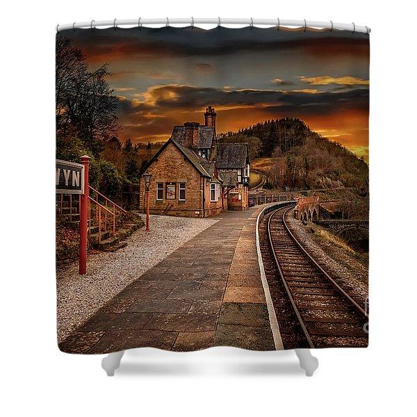 Berwyn Railway Station Sunset Shower Curtain
