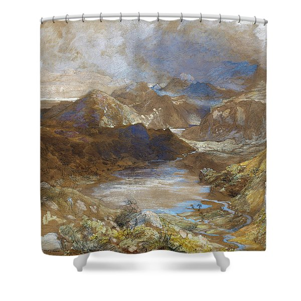 Between Capel Curig And Beddegelert, North Wales - Digital Remastered Edition Shower Curtain