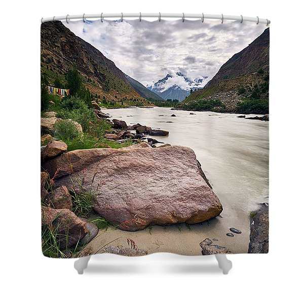 Shower Curtain featuring the photograph Bhag River by Whitney Goodey