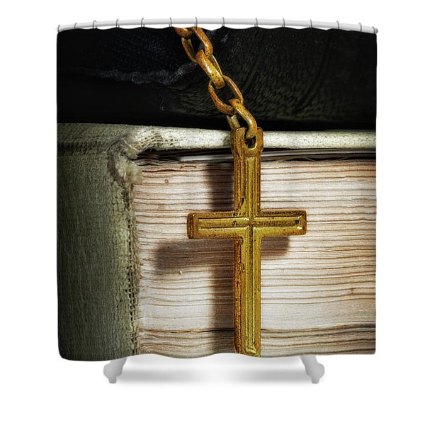 Bibles With Cross Shower Curtain