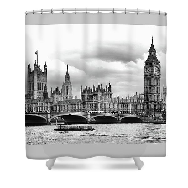 Big Clock In London Shower Curtain