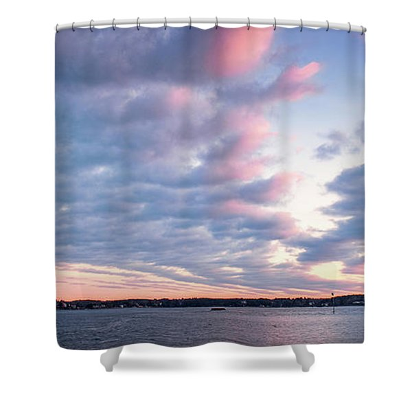 Shower Curtain featuring the photograph Big Sky Over Portsmouth Light. by Jeff Sinon