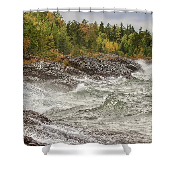 Big Waves In Autumn Shower Curtain