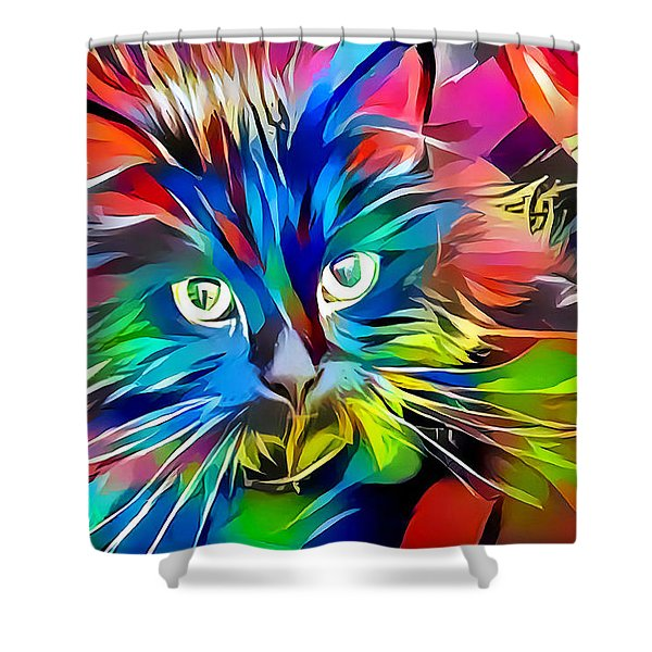 Big Whiskers Cat Shower Curtain