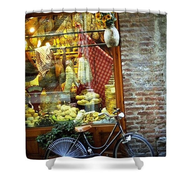 Bike In Sienna Shower Curtain