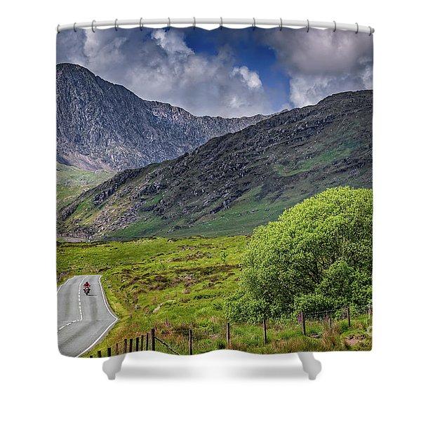 Biker In Snowdonia Wales Shower Curtain