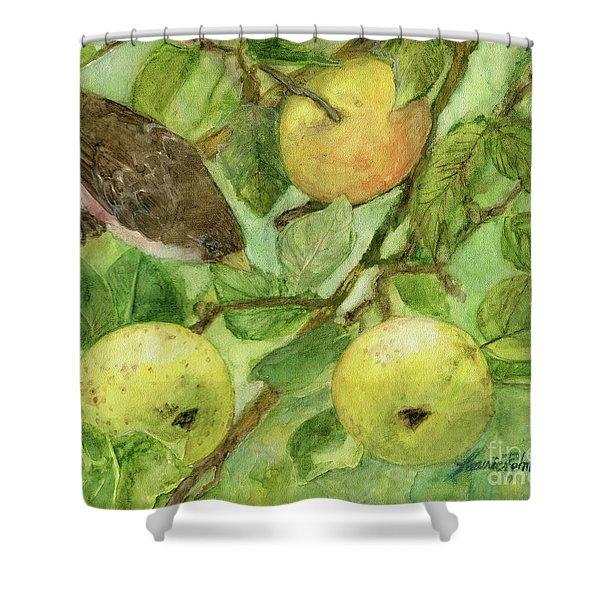 Bird And Golden Apples Shower Curtain