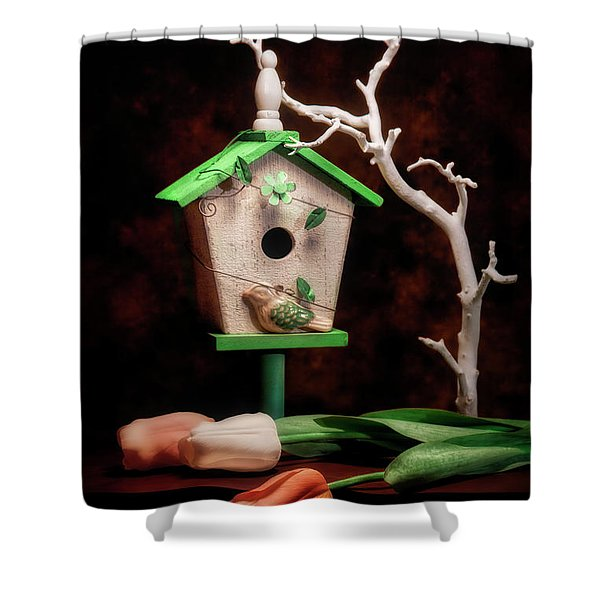 Birdhouse With Tulips Shower Curtain