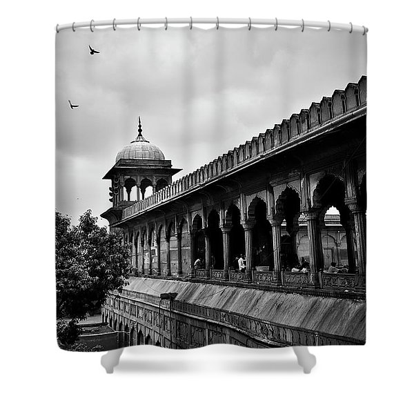 Shower Curtain featuring the photograph Birds Over The Jama Masjid by Whitney Goodey
