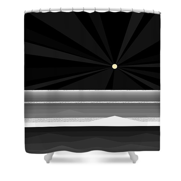 Black And White Abstract Sea Shower Curtain